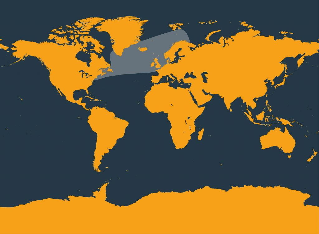 Atlantic white-sided dolphin distribution map