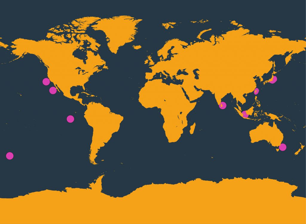 Ginkgo-toothed whale distribution map