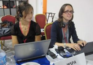 Jo (left) at a meeting with  colleague, Claire Bass.